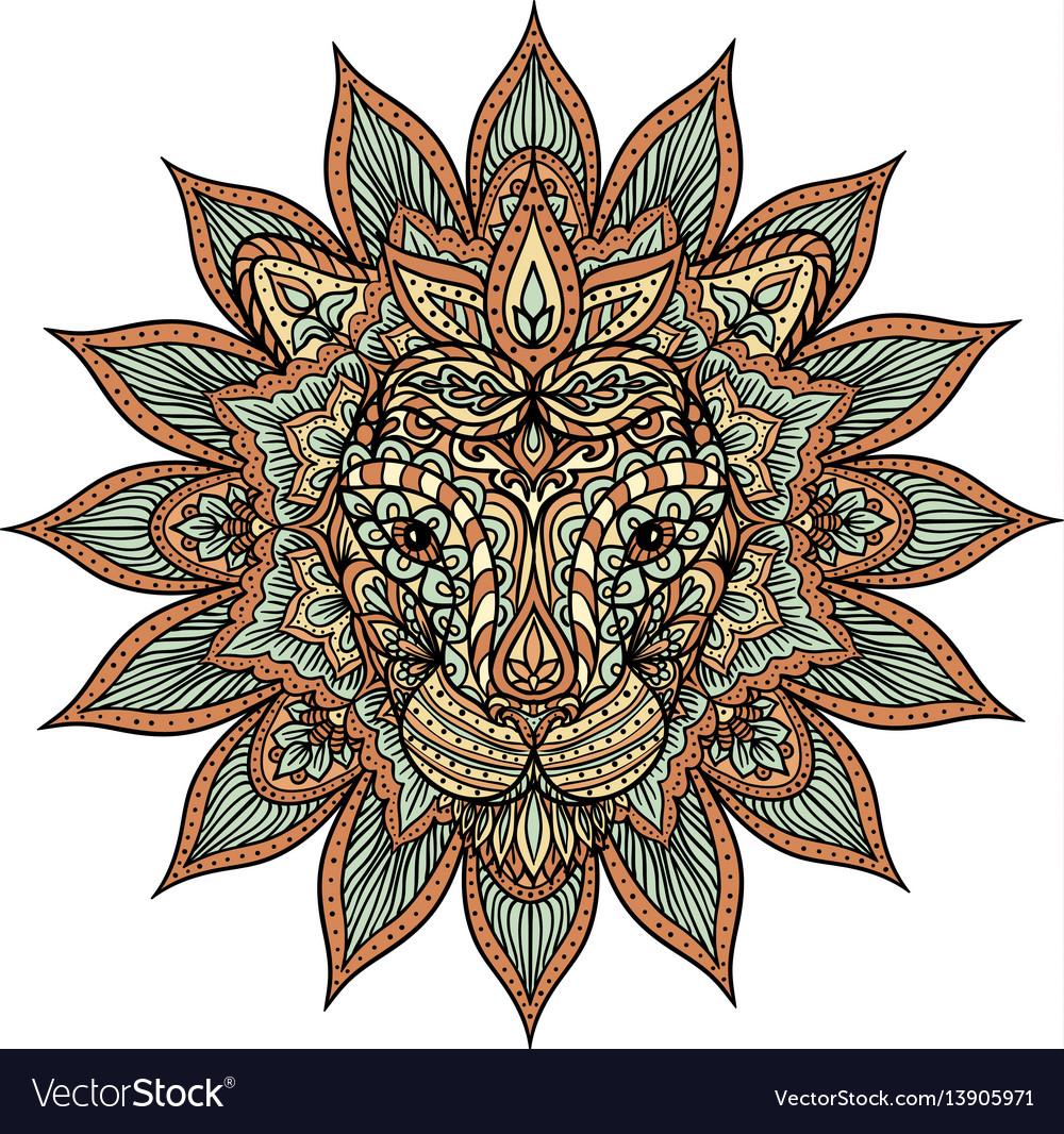Download Colorful lion mandala Royalty Free Vector Image