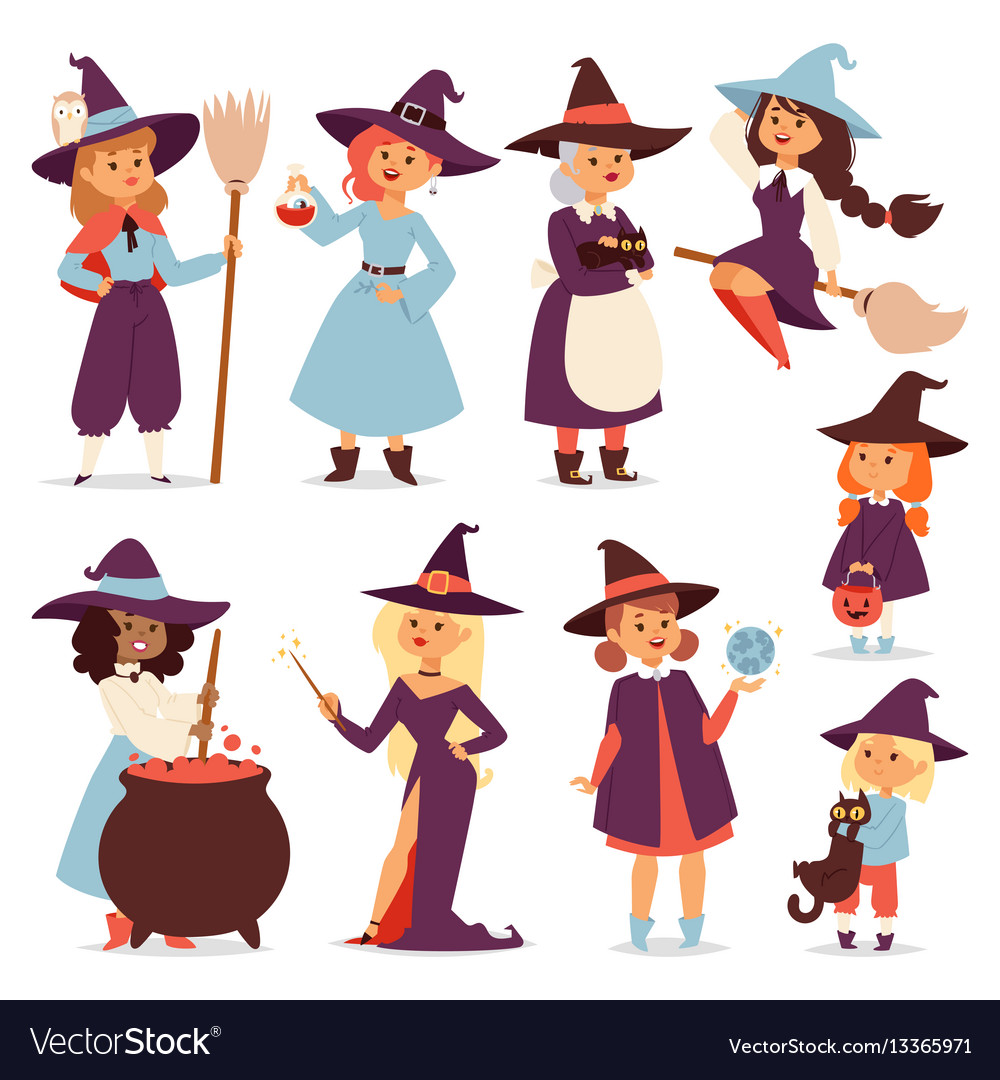 Cute little witch with broom cartoon cat for print