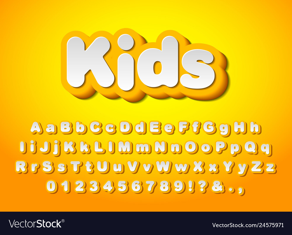 Cute yellow 3d letters