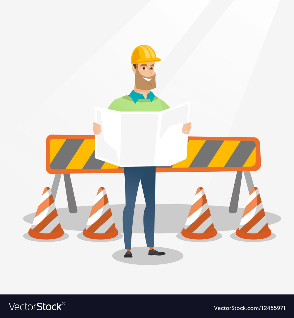 Engineer watching a blueprint royalty free vector image engineer watching a blueprint vector image malvernweather Image collections