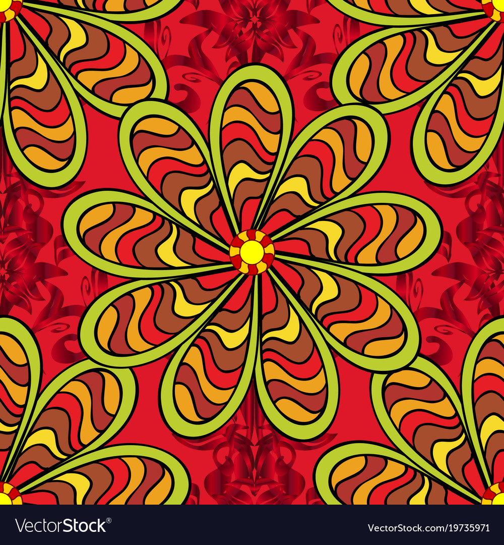 Flowers Of The Valley On Red Yellow And Black Vector Image