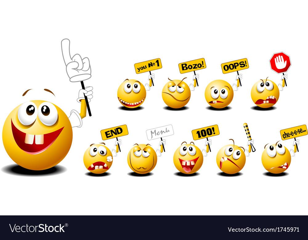 Funny emoticons vector image