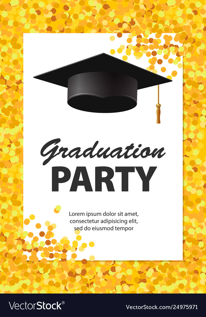 Graduation Party Invitation Card With Golden