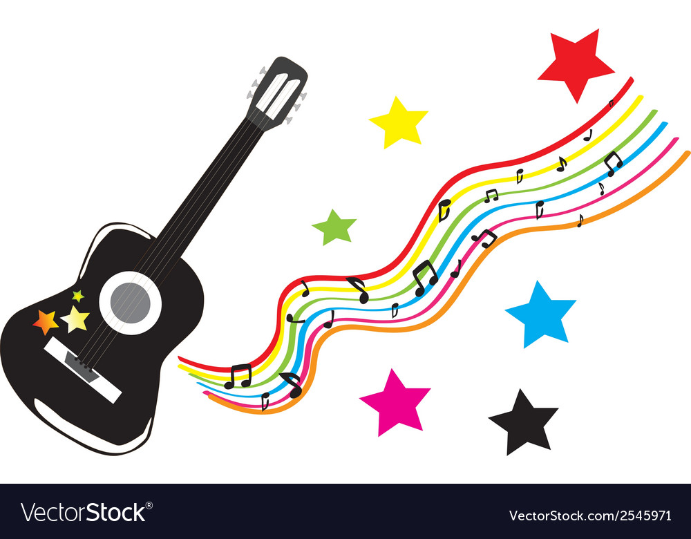 Guitar with colored stars