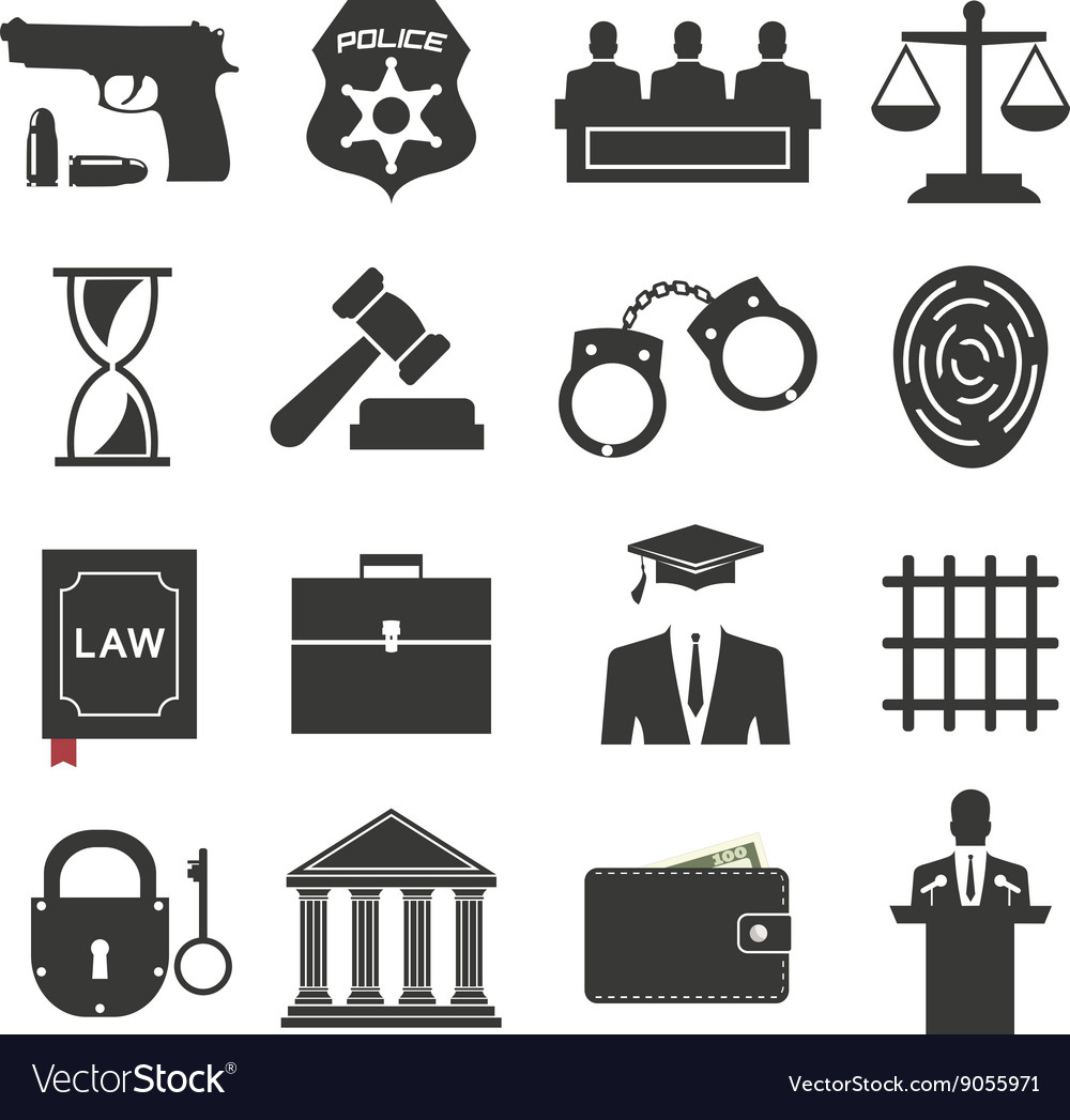 Legal law and justice icon set