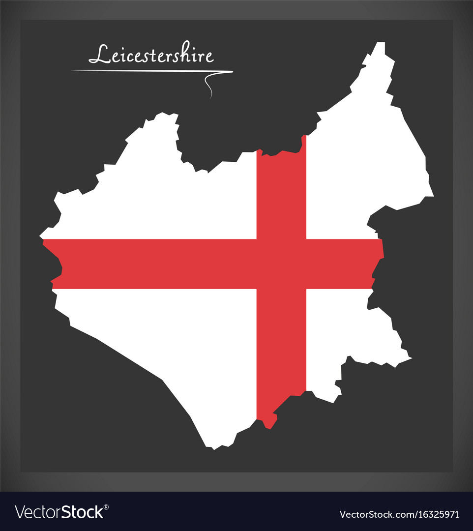 Leicestershire Uk Map.Leicestershire Map England Uk With English Vector Image