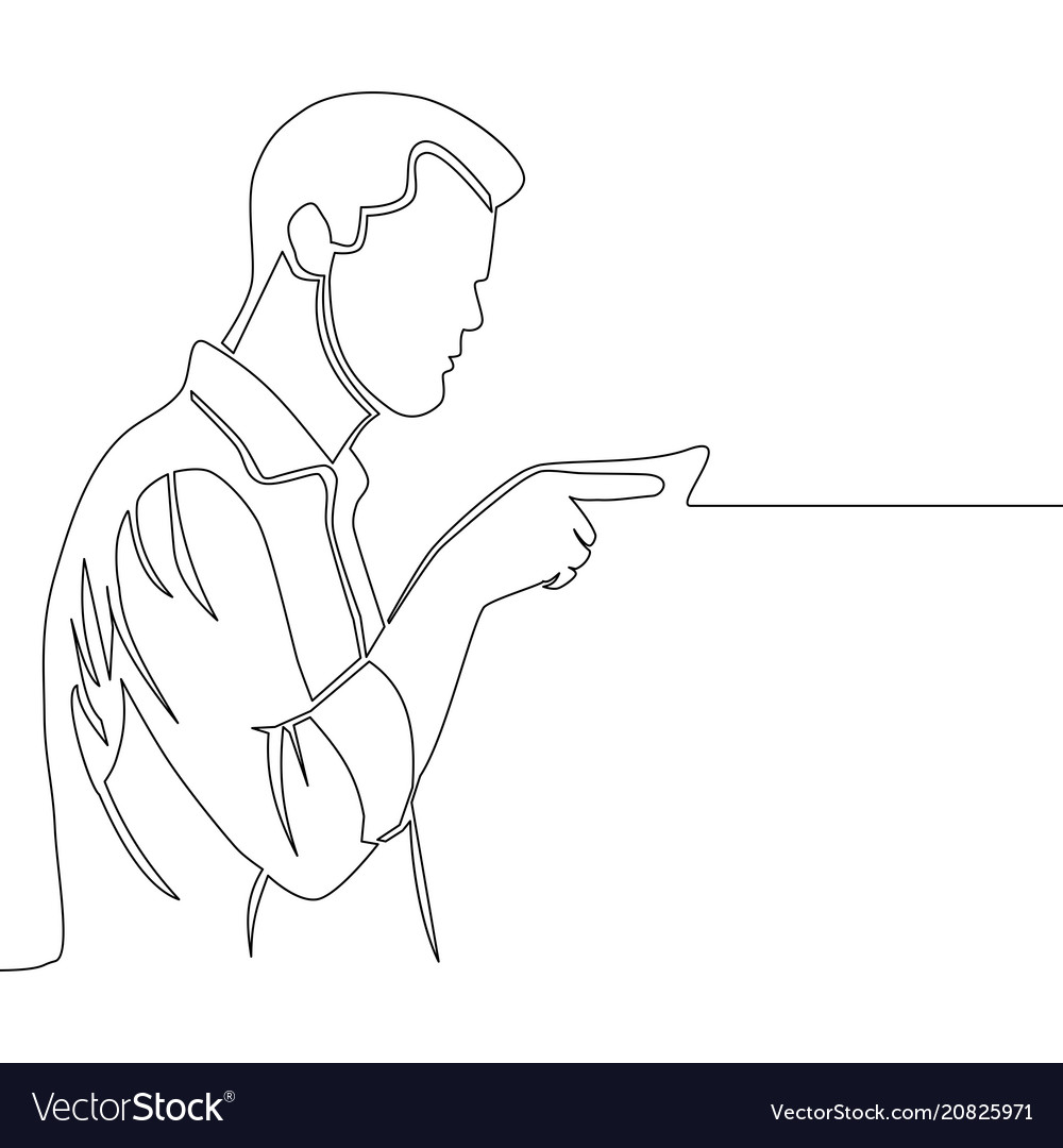 Man pointing with finger continuous line drawing vector image