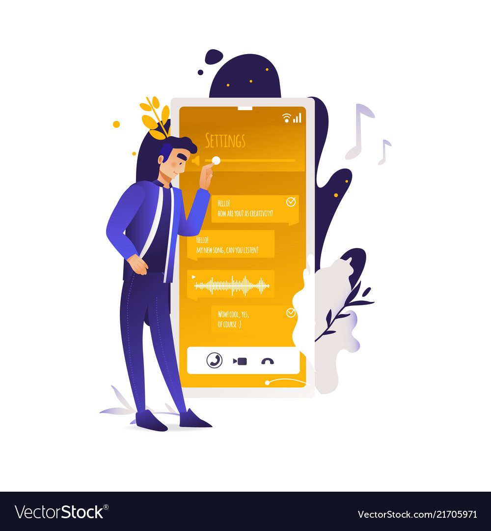Mobile applications concept man standing near
