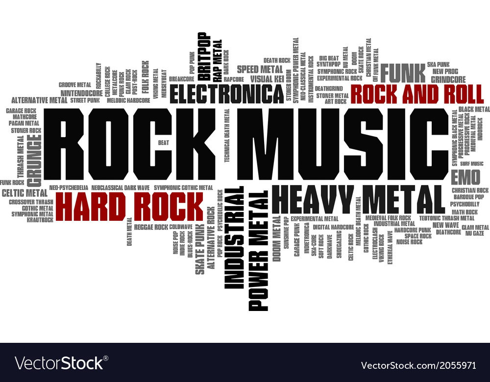 Rock Music Styles Word Cloud Bubble Tag Tree