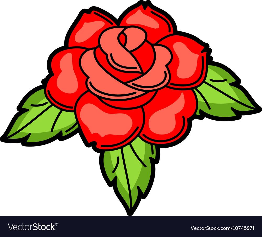 97eaeaf62 Rose retro tattoo symbol Cartoon old school Vector Image