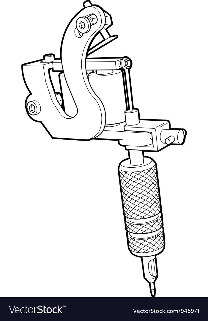 Tattoo Machine in Lines vector image