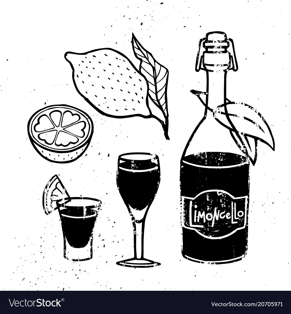 Vintage hand drawn limoncello drink concept