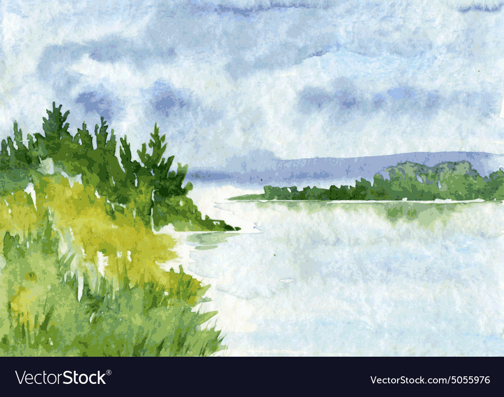 Abstract watercolor landscape