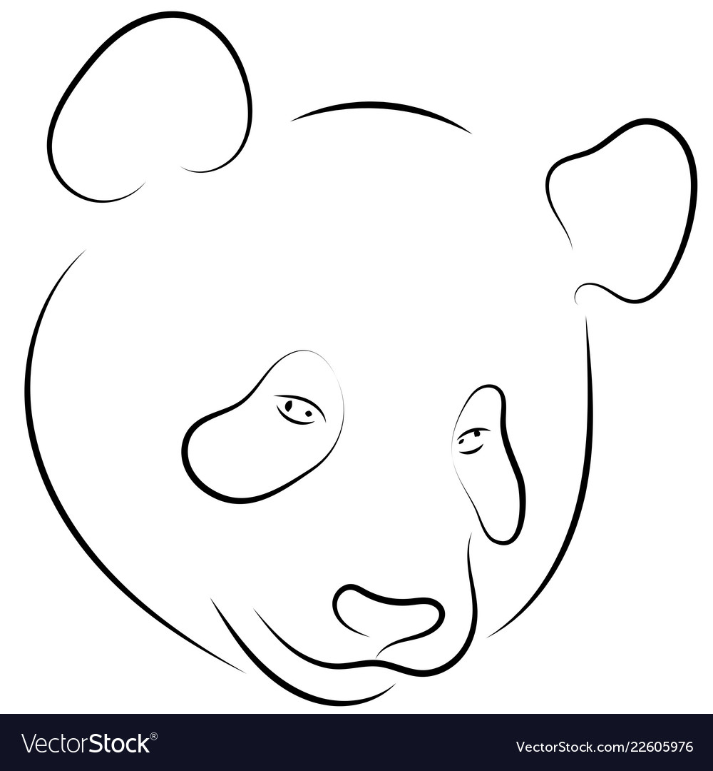 Black and white hand drawn linear sketch of panda