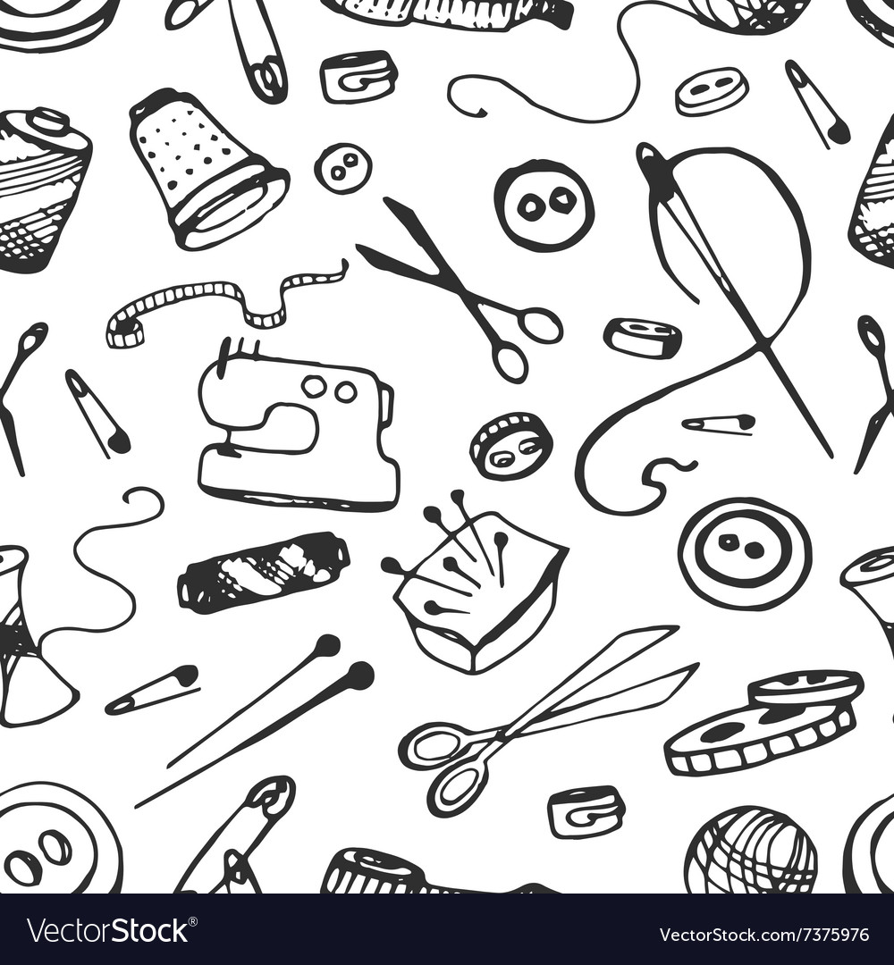 Doodle pattern of tailor business