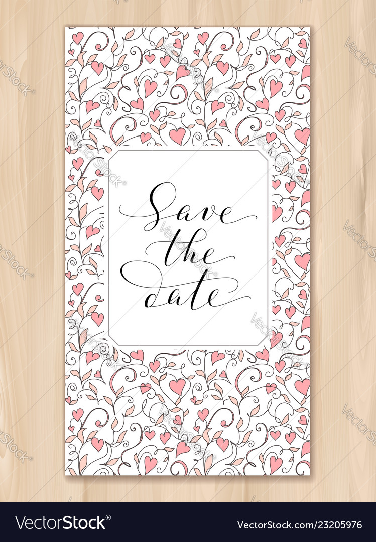 Save the date card with hearts pattern background