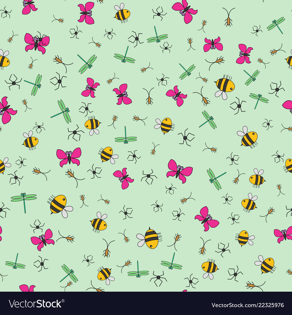 Seamless background of cartoon insects