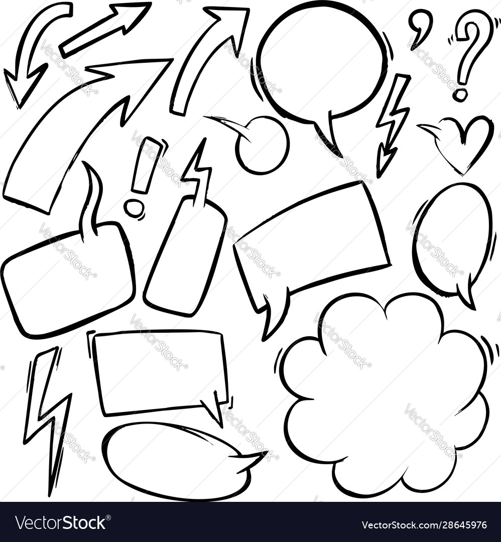 Set hand drawn comic style speech bubbles and
