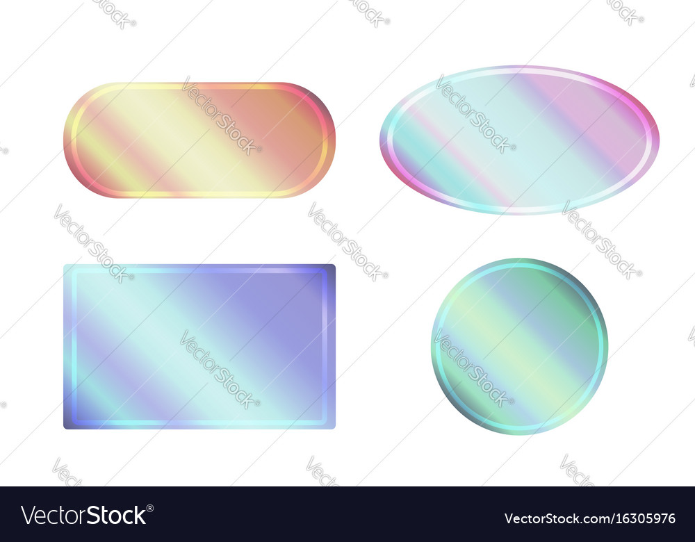 Set of pearlescent banners of different shapes
