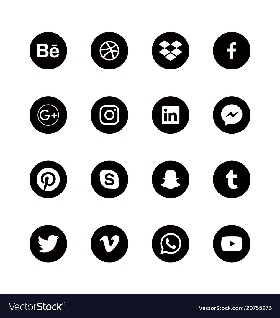 Social media round black icons alphabetical order vector image