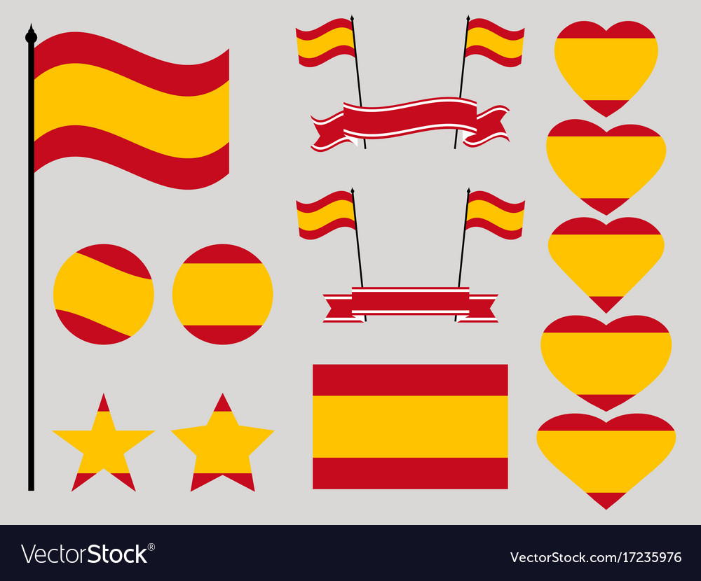Spain flag set collection of symbols heart