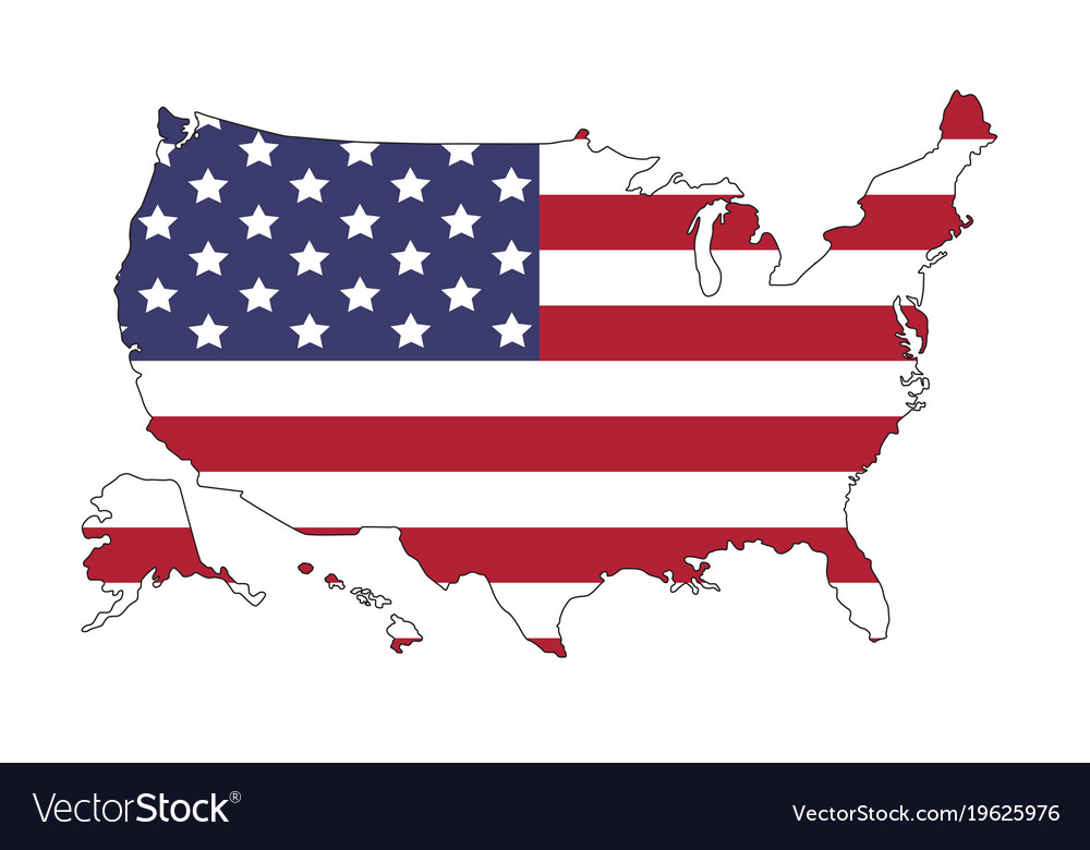 United States Of Americas Map.United States Of America Map With Flag North