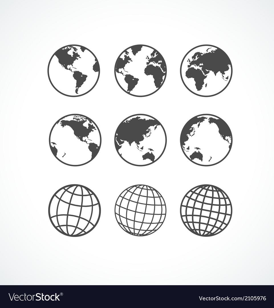 Vecrot globe icon set vector image