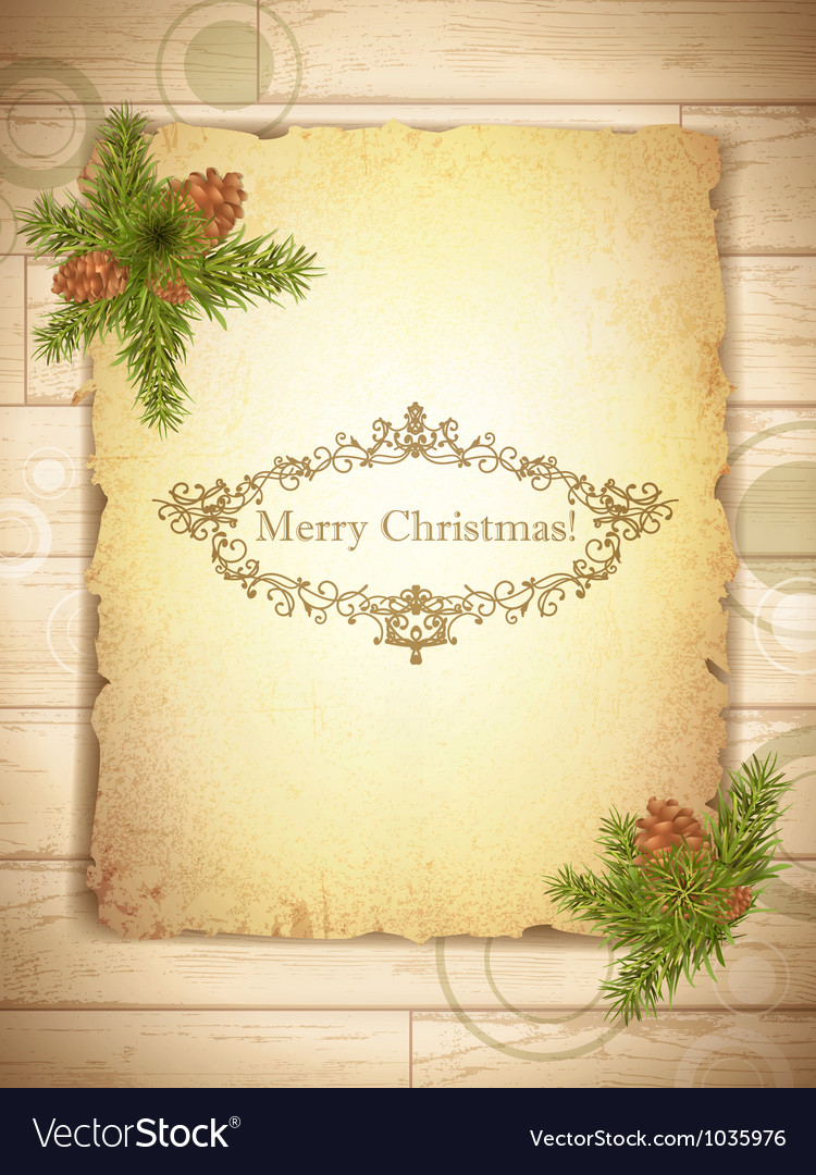 Vintage grunge paper with christmas greetings in