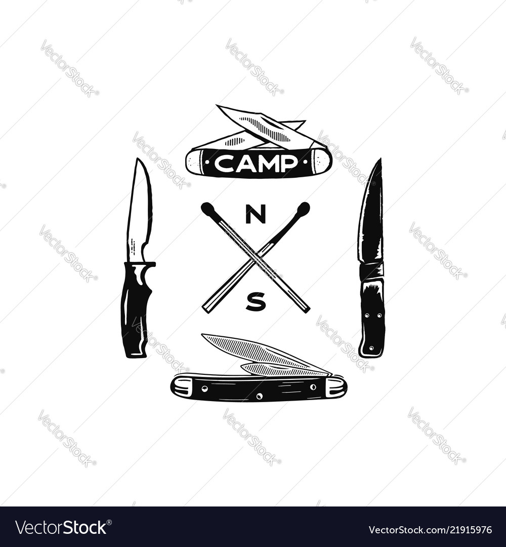 Vintage hand drawn camping adventure icons hiking