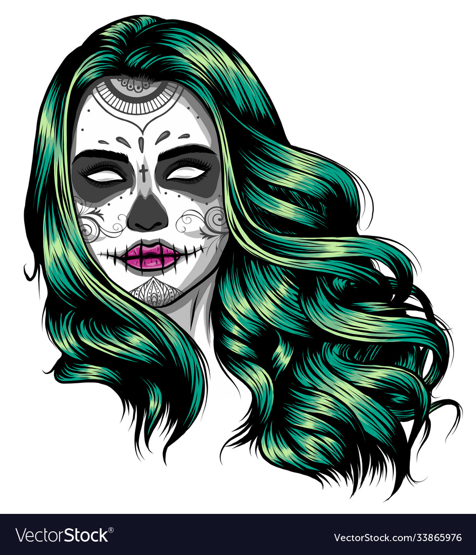 Woman with sugar skull face paint