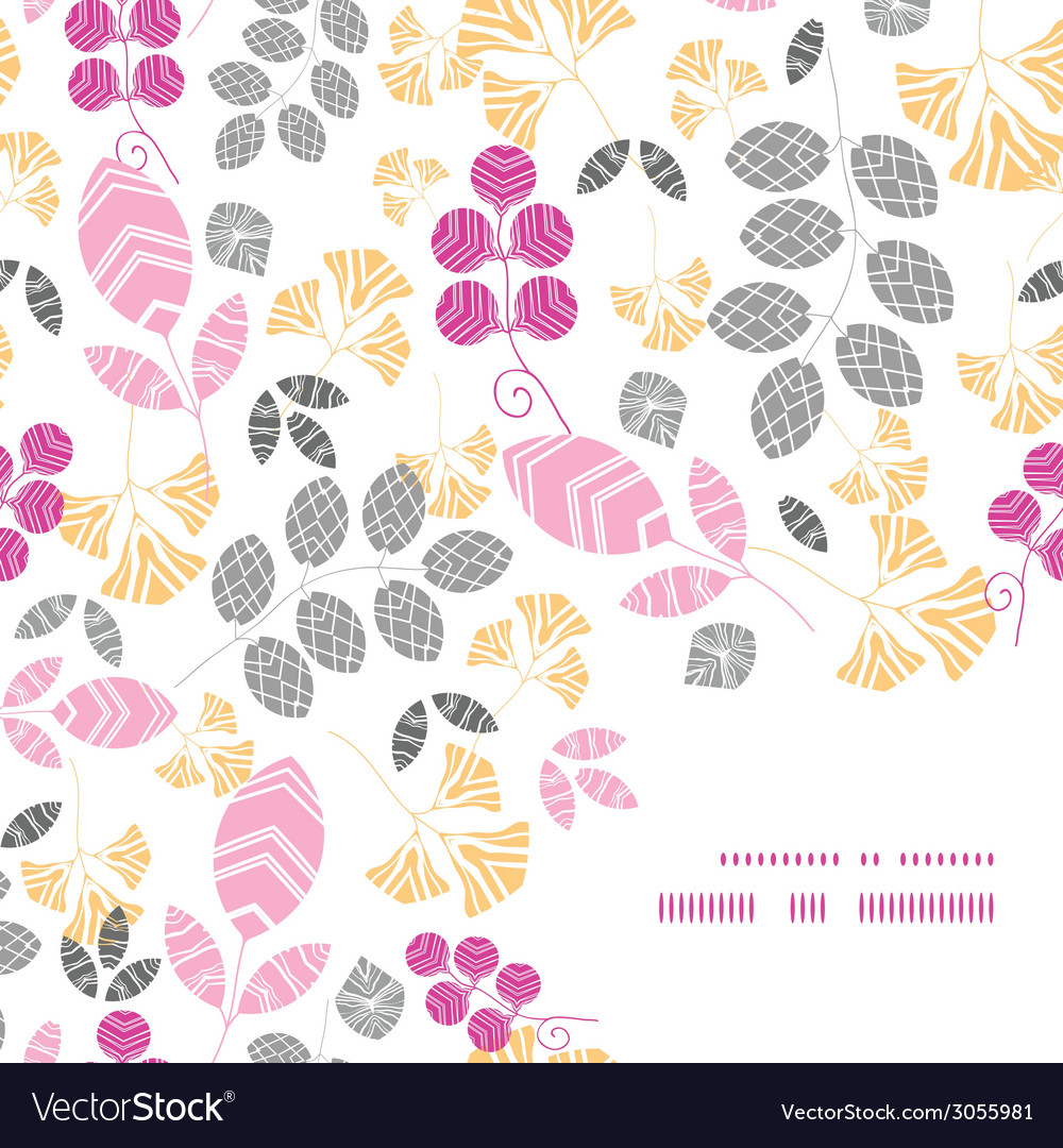 Abstract pink yellow and gray leaves frame corner