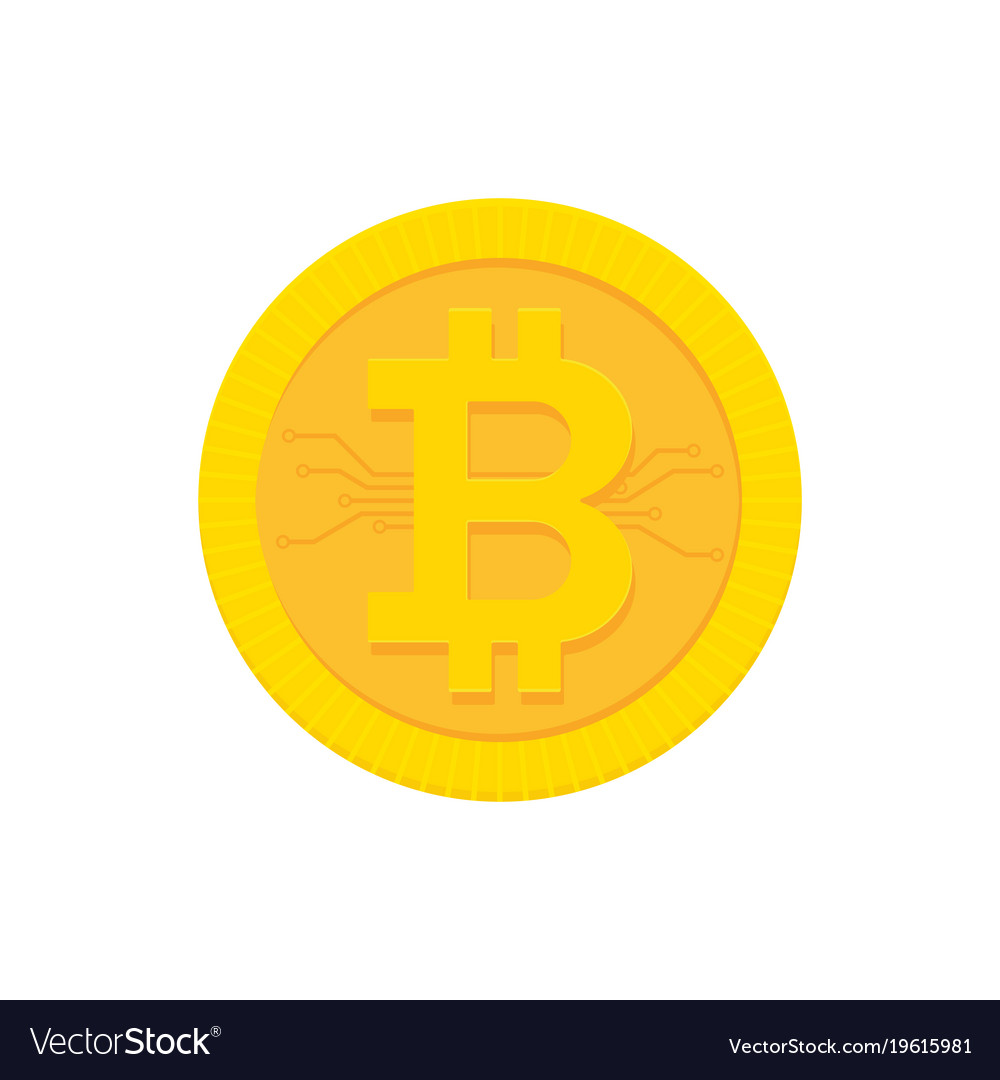 Bitcoin digital currency icon with circuit board