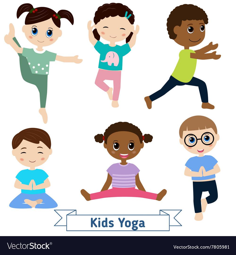 Children Yoga Royalty Free Vector Image Vectorstock