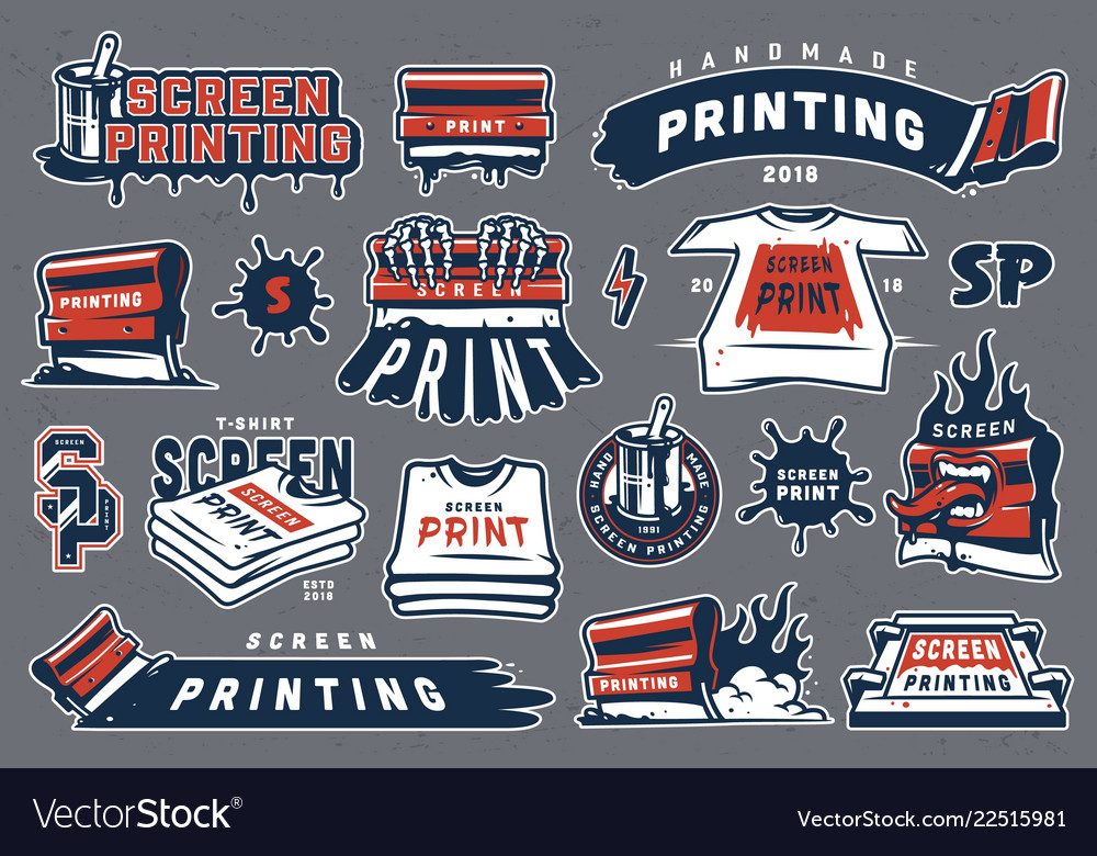 Collection of colorful serigraphy elements