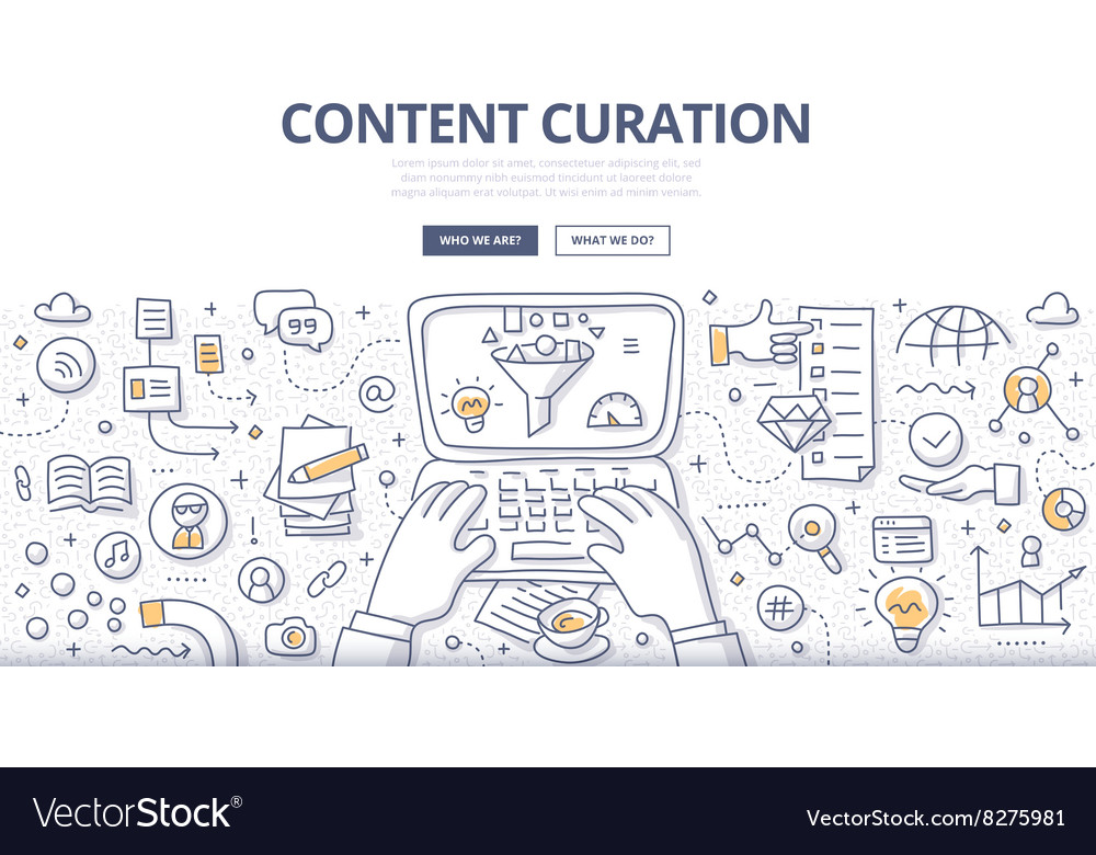 Content Curation Doodle Concept vector image