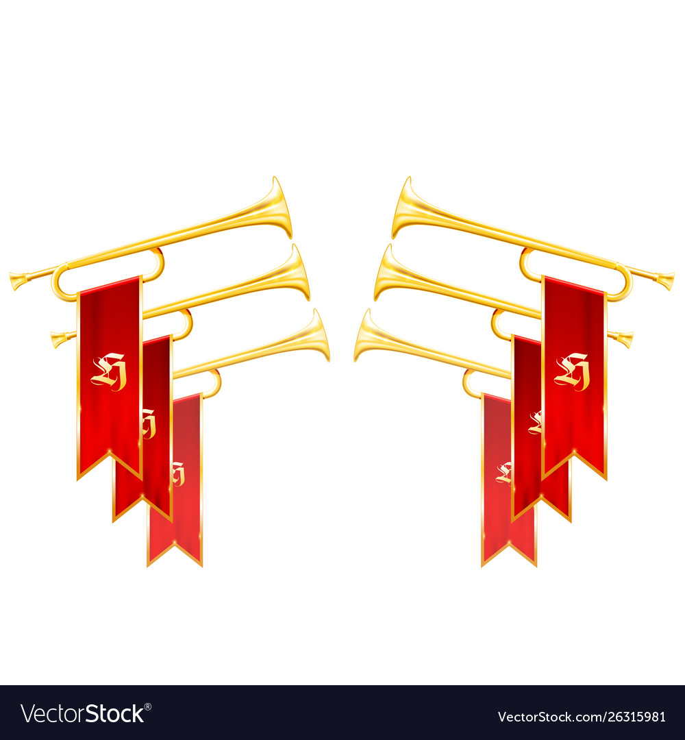 Fanfare triumph - crossed vintage trumpets