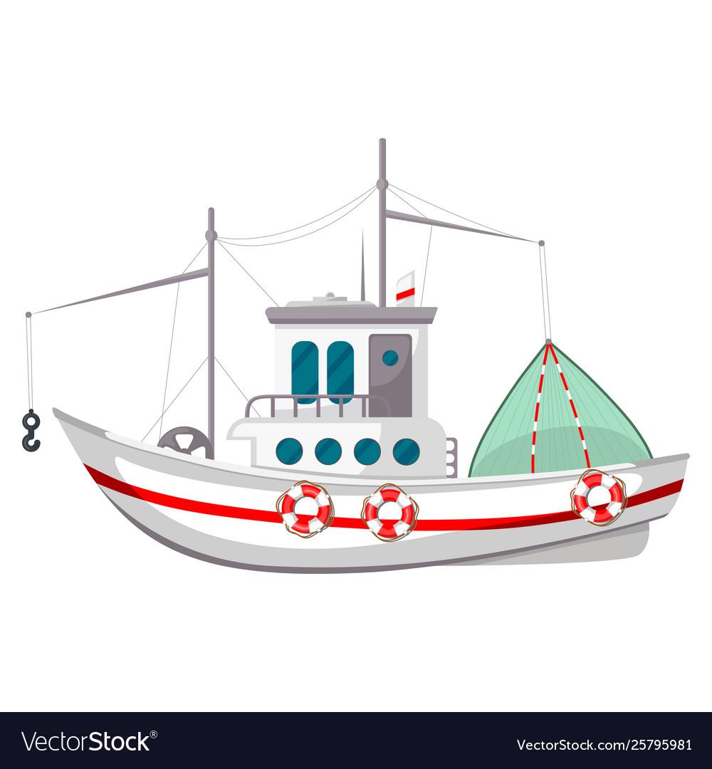 Fishing boat icon travel vessel on sea ocean