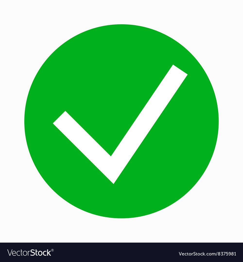 green tick check mark icon simple style royalty free vector