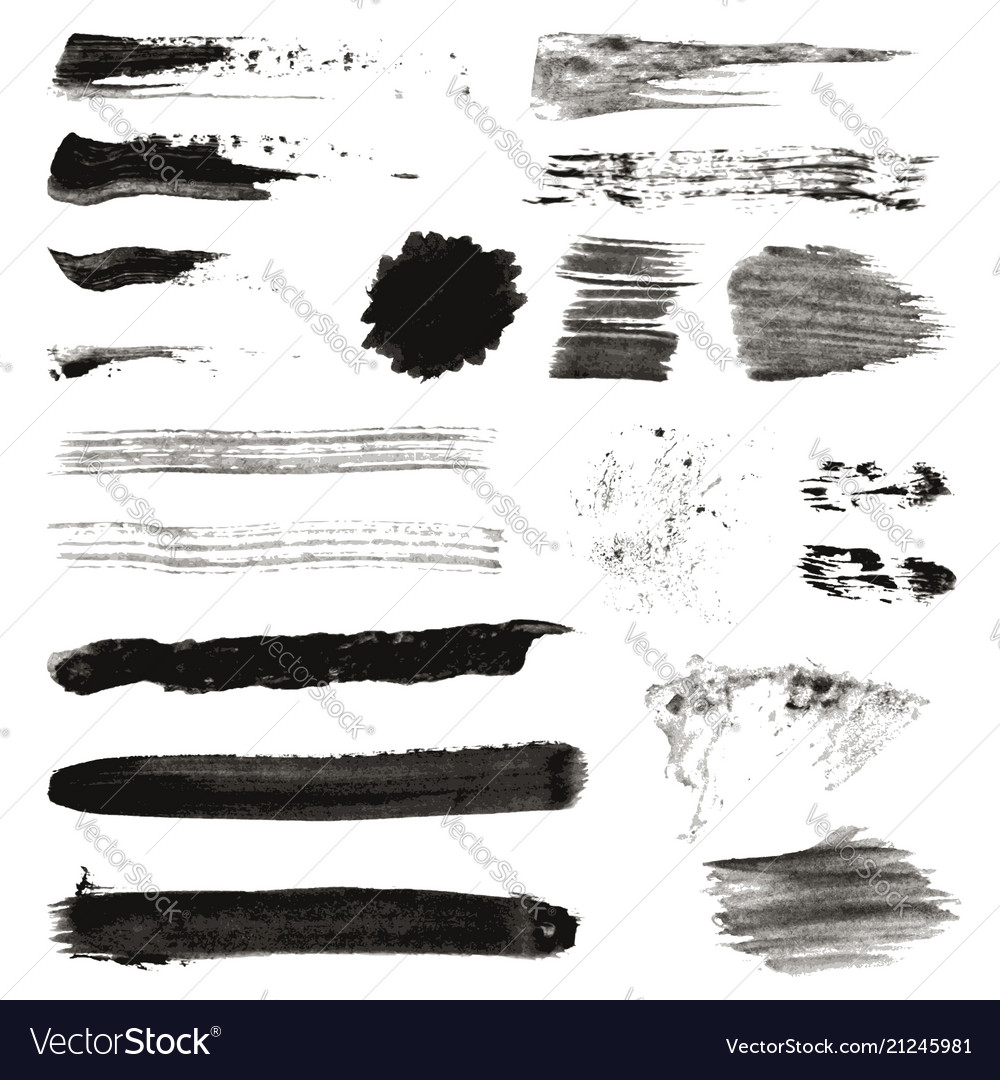 Grunge black rough brush strokes set set black vector