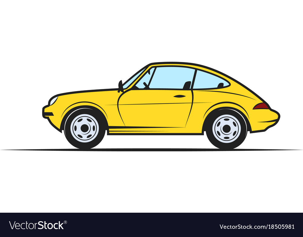 Hand-drawn yellow car