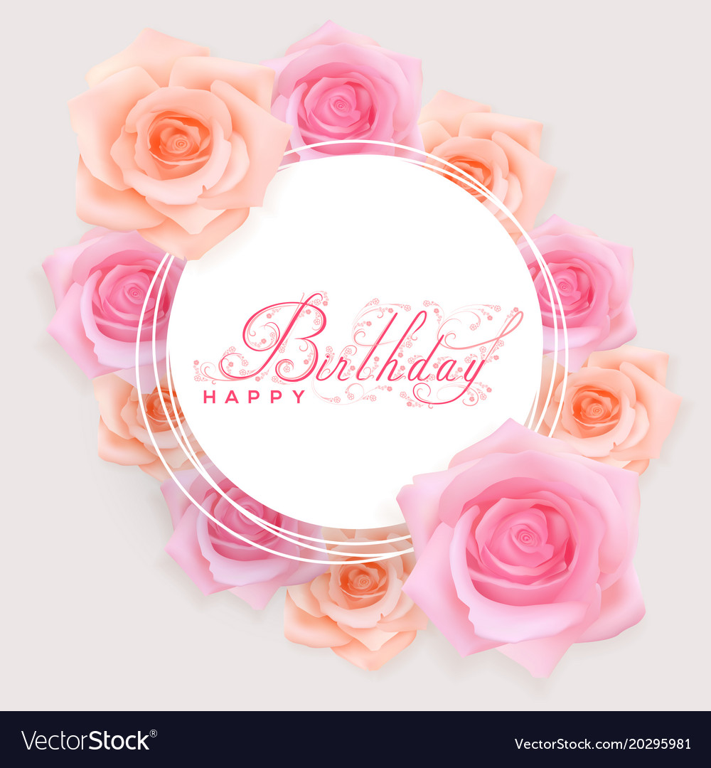 Happy Birthday Card With Red Roses Vector Image