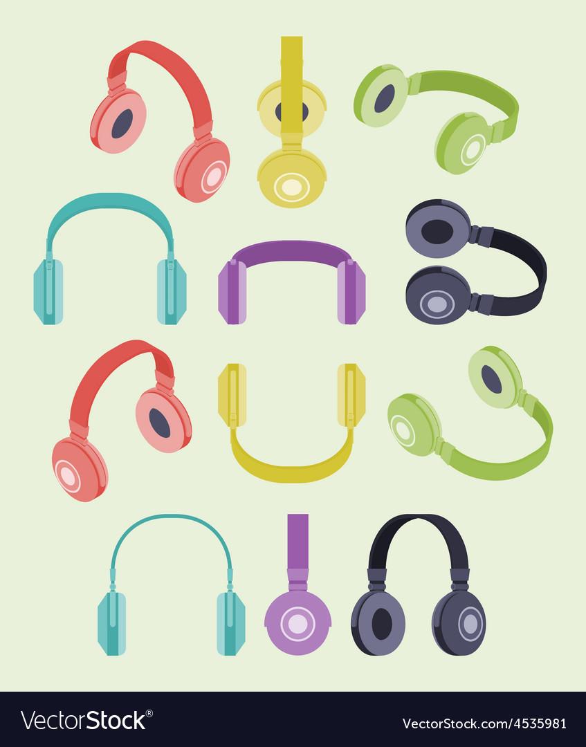 Isometric colored headphones