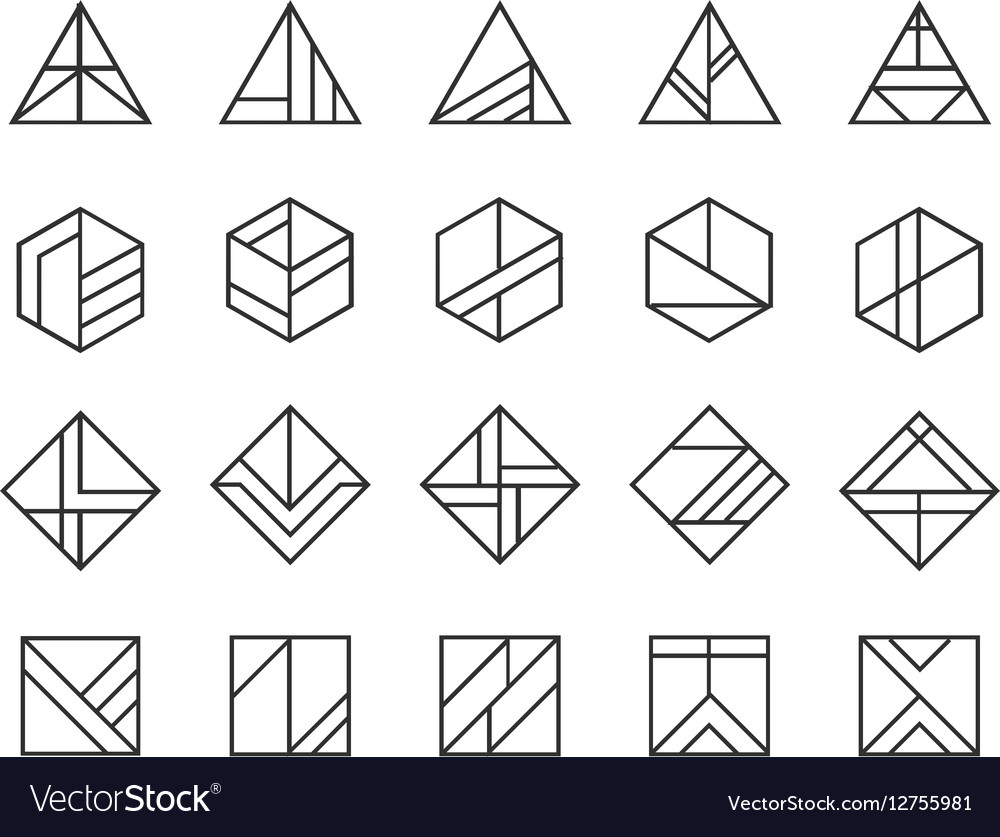 Set of abstract linear hipster logos