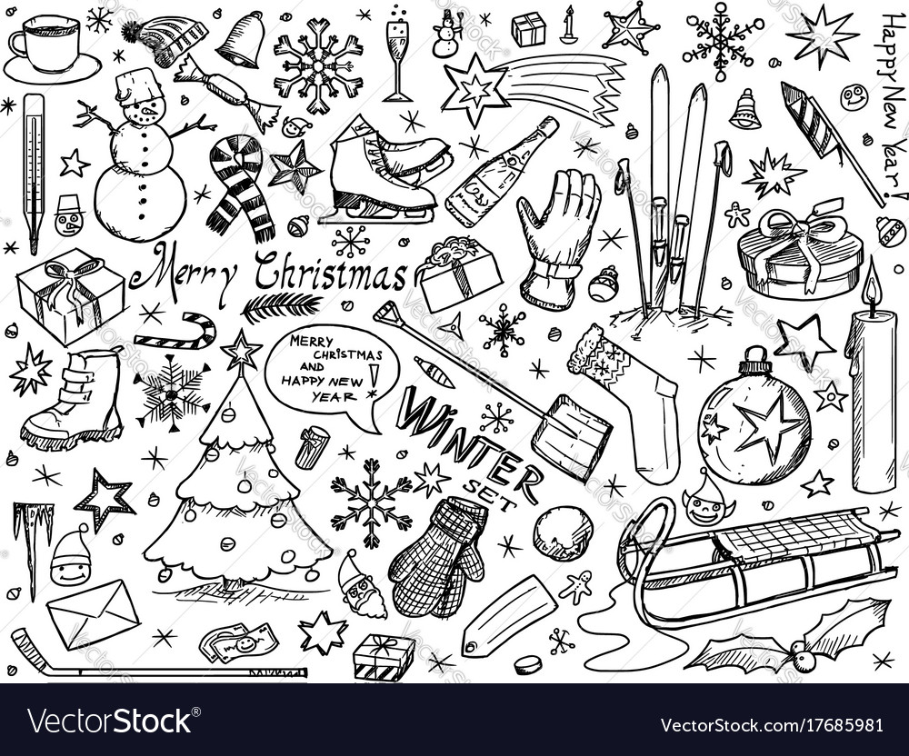 Set of winter or christmas icons drawings doodles