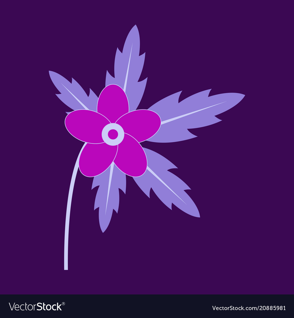 Tree leaf with flower in flat style