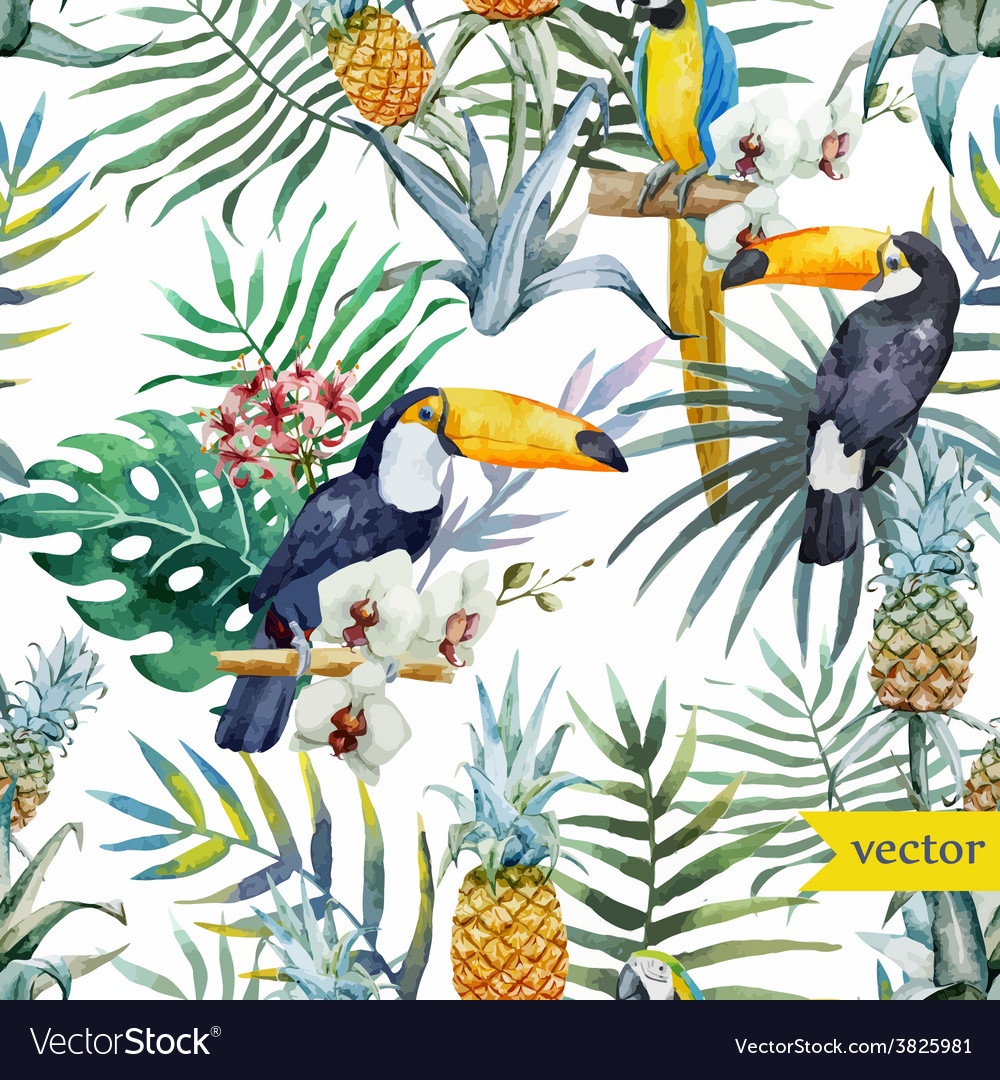 Watercolor tropical pineapple exotic pattern
