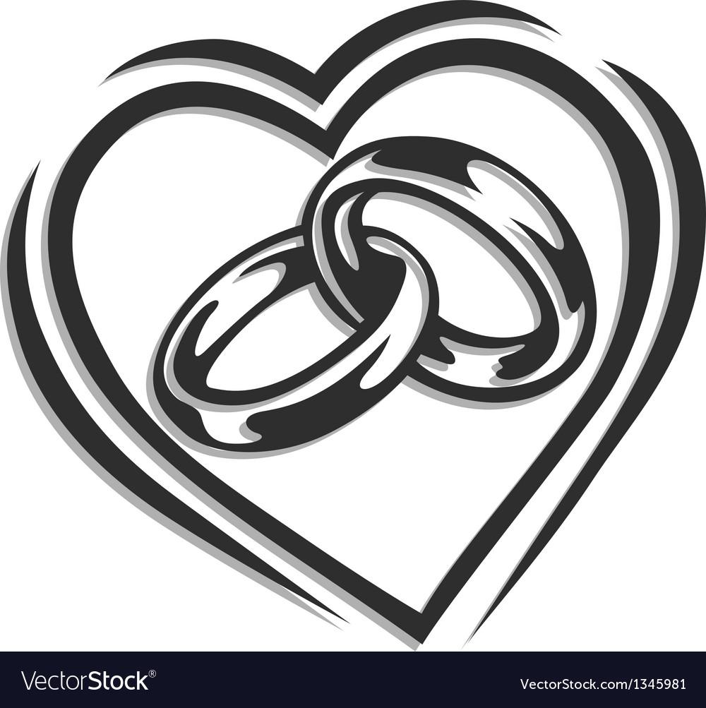 Wedding Ring In Heart Vector Image