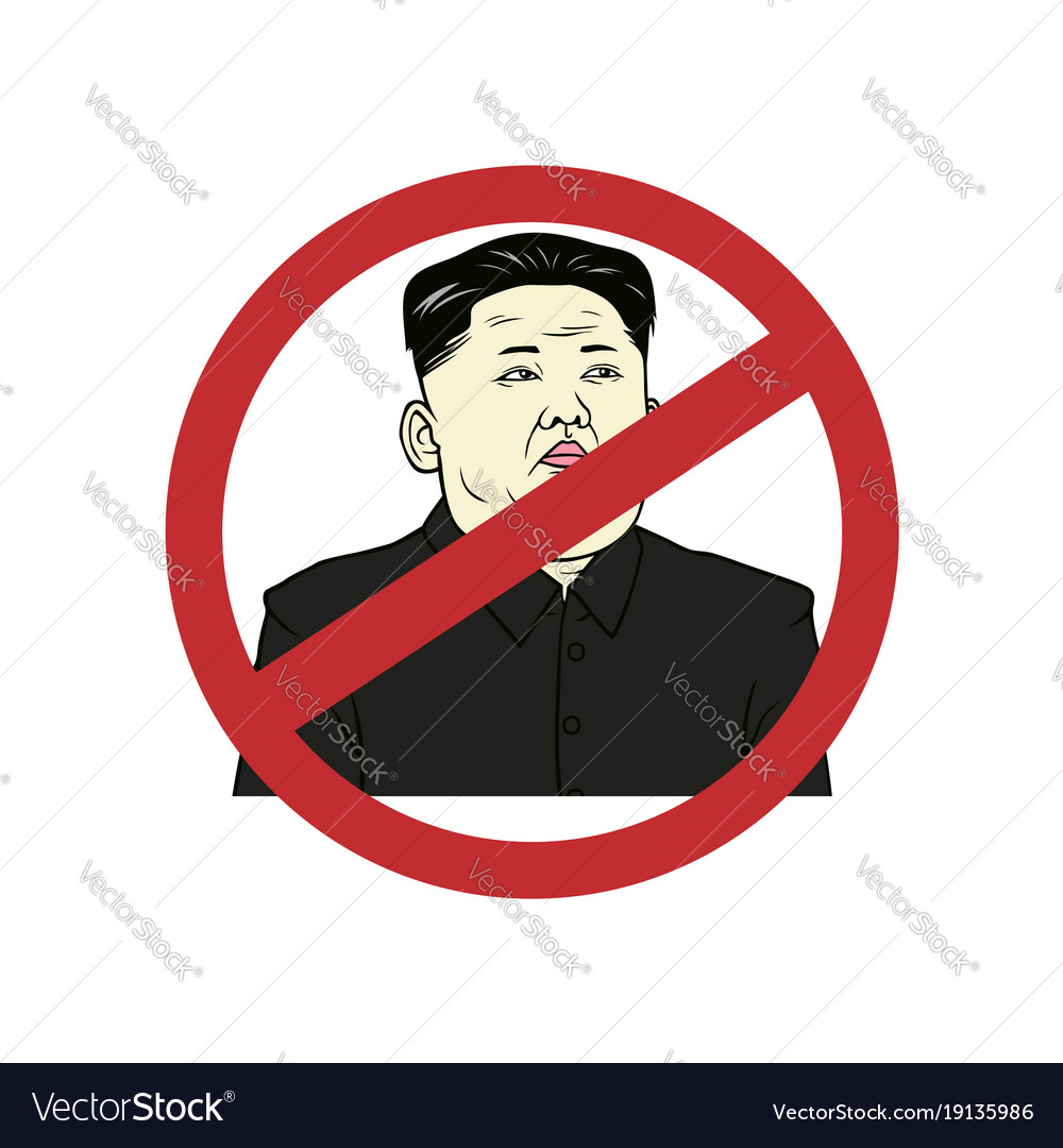 Anti kim jong-un flat design art portrait