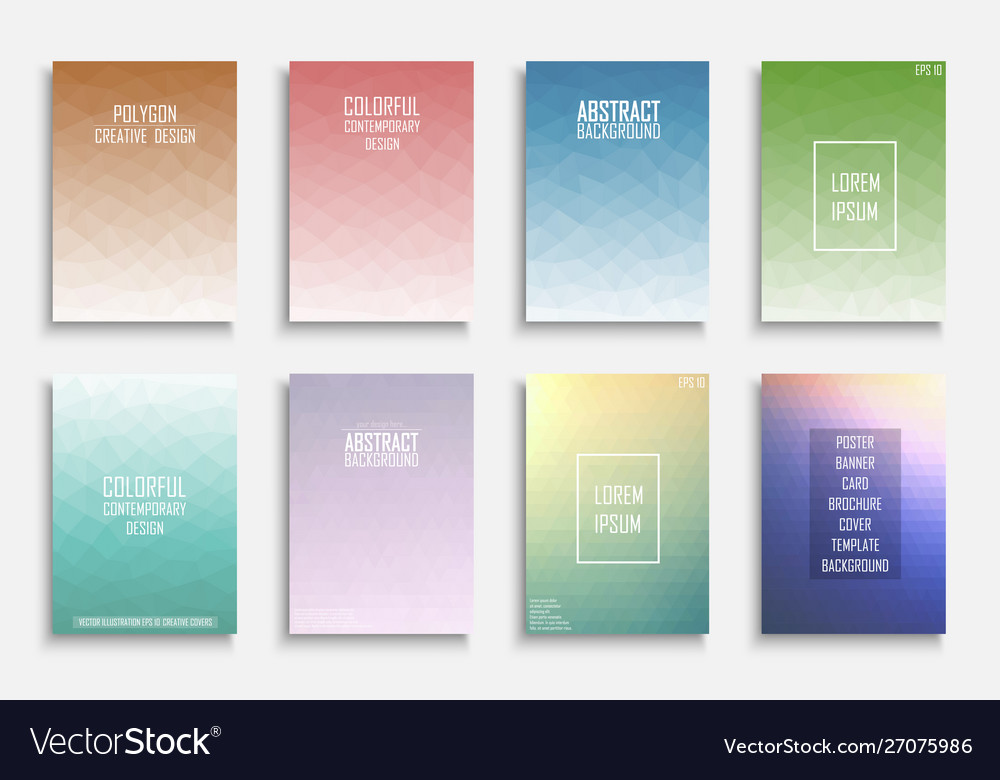 Collection colorful abstract polygonal