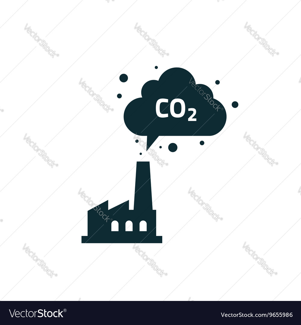 Factory plant silhouette chimney polluting CO2